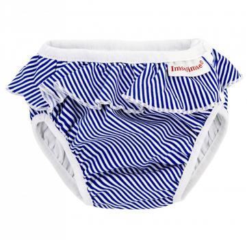 ImseVimse Schwimmwindel (Weiß/Blau Streifen Rüschen)