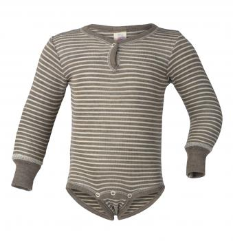 Engel Baby-Body langarm Wolle/Seide (walnuss/natur)